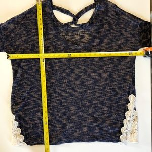 Papermoon Tops - Papermoon Plus Navy Long Sleeve Cross Back Top